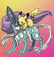 Suicune and Pikachu by skeletall