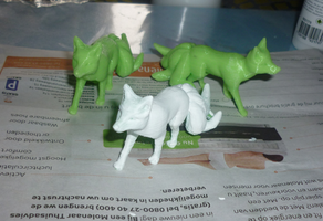 Miniature foxes WIP by goiku
