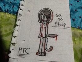 Merlina in jeff the killer cosplay (pencil) by Merlinathecat