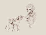 Luna Lovegood and a baby Thestral by Pumulla