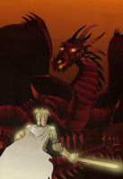 Ser Barristan VS Drogon by acazigot