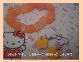 orange jewelry set by Daisy--Chains