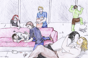 Avengers+Loki party - End of the night by KaterinaCaitiff