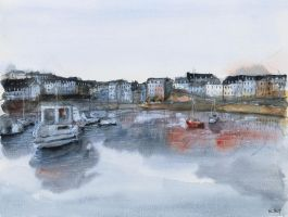 (SOLD) original - Rosmeur port - Watercolor by nicolasjolly