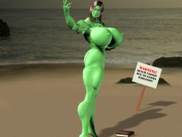 Tina at the Beach HULKED by Titaneer
