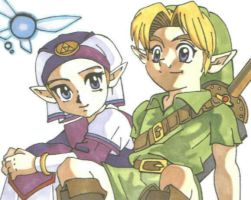 Link and Zelda with Navi by TheSpyWhoLuvedMe