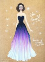 Lily Collins in Elie Saab by angelaaasketches