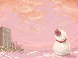 snowman and sunset by Frescholy