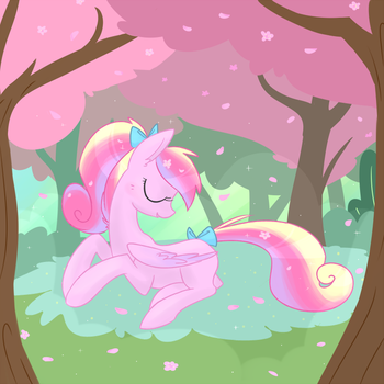 Pegasus Cadance in a Cherry Orchard by Hollulu