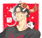 Darkiplier with cats by Ozumii