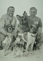 Commission - 4 dogs and 2 humans group shot by Captured-In-Pencil