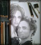 portraitdrawing Robert Pattinson and Kristen by NormaeJean