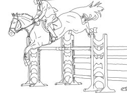 Free line art- jumping by AEC101