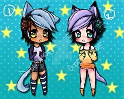 CLOSED:Colorful Neko Adoptables by DoodinHyde