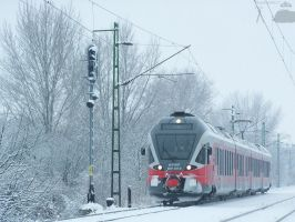 Flirt train in Gyor in snow. by morpheus880223