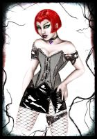 red-vinyl-corset- cyber goo by asunder