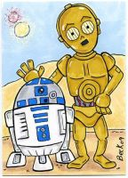 R2-D2 and C3-PO by beckadoodles