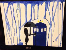 TARDIS in the rain by BrunettePanda