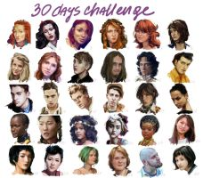 Summary of my 30days challenge - faces by sparrow-chan