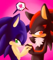 Shy Couple++hold my hand++ by JezzTheHedgehog
