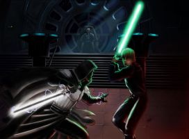 Starkiller vs Luke Skywalker by clarkspark