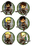 Attack on Titan - Button Set 1 by Rixari