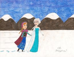 Anna and Elsa in the Snow by daisyplayer1