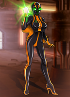Black Pariah Starfire (commission/writing contest) by Re-Maker
