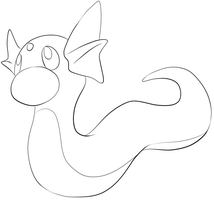 147 Dratini Lineart by lilly-gerbil