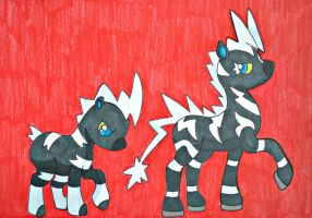 My Little Pony- Zebstrika and Blitzle by Mischief-Moose