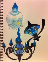 Litwik Lampent and Chandelure by RedDeadRAVAGE