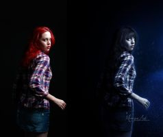 Through Darkness - Before/After by MorriganArt