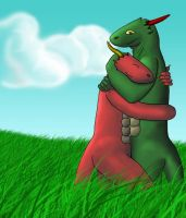 A hug in the grass byAndyMcNub by All-Crazy-Reptiles