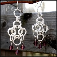 Twisted Ring Amethyst Chainmaille Earrings by Aeltari