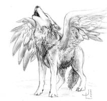 Just another winged wolf by LittlePanther