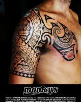 Polynesian / Maori half sleeve and chest plate 2 by Monk3ys-Tattoos