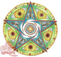 Summer Pentacle Mandala by Spiralpathdesigns