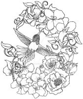 Hummingbird with Flowers Tattoo by Metacharis