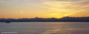 Sunset At Olympic Peninsula and Puget Sound by SilentMobster42