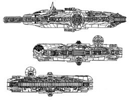 Millennium Falcon Side View by RedSpider2008