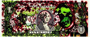 Graffiti Art Dollar Bill - Bombed out $1 bill by MF-minK