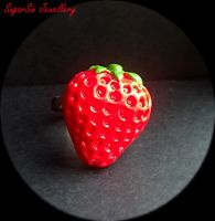 Strawberry ring by SugarsinJewellery