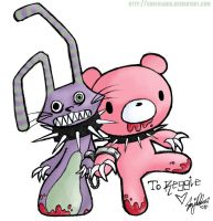 M Bunny and gloomy bear by crayolakid