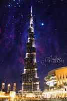Night galaxy of Burj Khalifa and Dubai mall by amirajuli