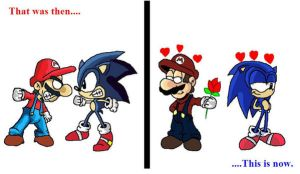 Mario and Sonic - Then n now by The-DCE