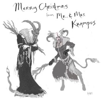 Mr and Mrs Krampus Sketch by karichristensen