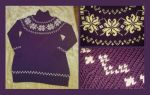 Purple rose fair-isle sweater - COMMISSION by KnitLizzy