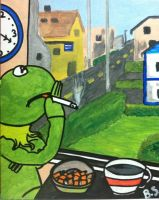 Kermit the Frog Smoking after a hard day by sampson1721