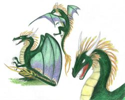 Green Dragons from Heroes III by Flying-With-Dragons