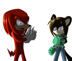 Get Ready :Gift  Knuckles and Tiger: by Crazybandit1